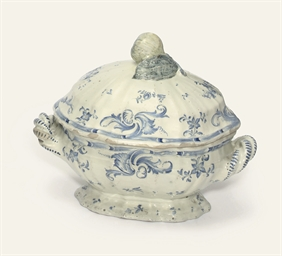 A LESUM TWO-HANDLED TUREEN AND
