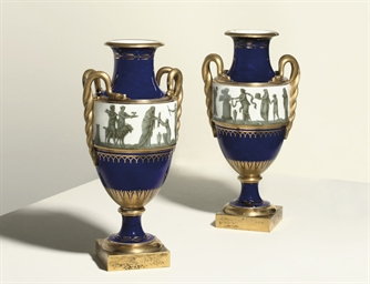 A PAIR OF SEVRES GILT-METAL-MO
