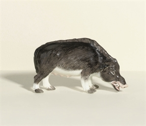 A MEISSEN MODEL OF A WILD BOAR