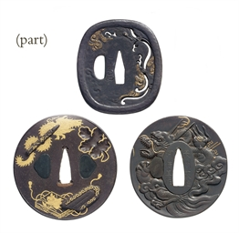 A group of five tsuba
