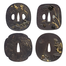 A group of four tsuba