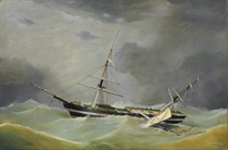 A dismasted ship riding out the gale