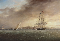 A large merchantman being towed into Boston amidst yachts racing offshore, a panorama of the city beyond