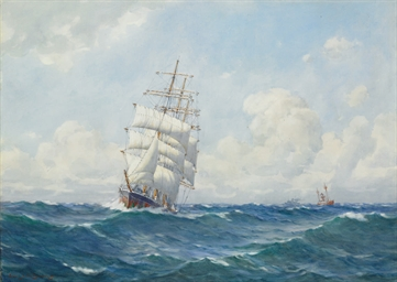 Clipper Ship in Full Sail pass
