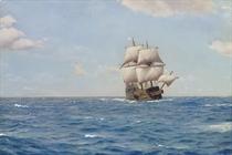 Mayflower with Pilgrim in the Atlantic, year 1620