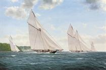 Britannia and Westward racing off Cowes