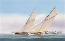 Close Matched, The America's Cup Yachts Puritan and Genesta during the 1885 America's Cup Challenge races