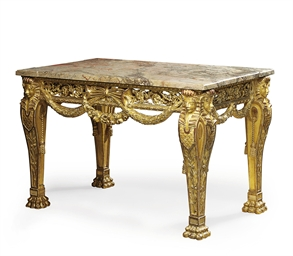 A GILDED LIMEWOOD CENTRE TABLE