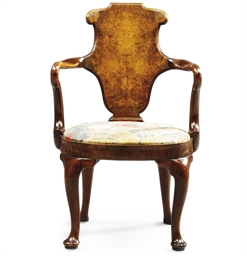 A GEORGE I WALNUT AND BURR-WAL