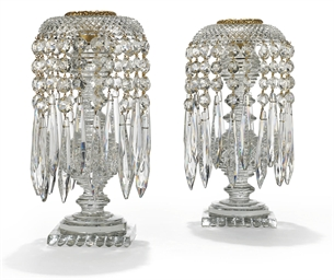 A PAIR OF REGENCY CUT-GLASS AN