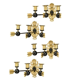 A SET OF FOUR ORMOLU AND BRONZ