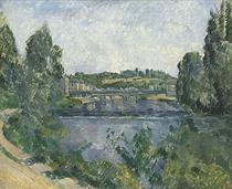 Le pont et le barrage à Pontoise