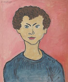 Portrait aux cheveux bouclés, pull marin (Allan Stein)