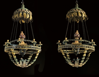 A PAIR OF GERMAN PARCEL-GILT A