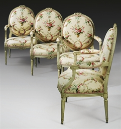 A SET OF FOUR LOUIS XVI CREAM-