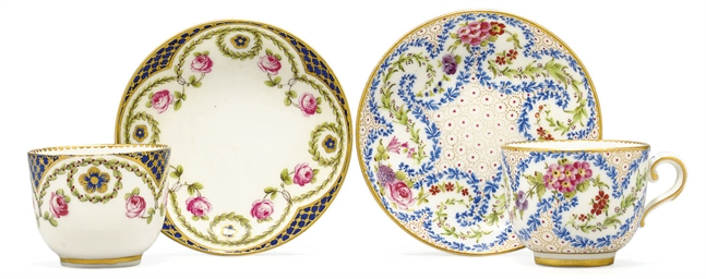 TWO SEVRES SMALL CUPS AND SAUC