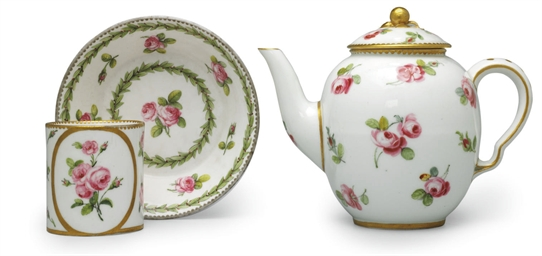 A SEVRES TEAPOT AND COVER, CUP