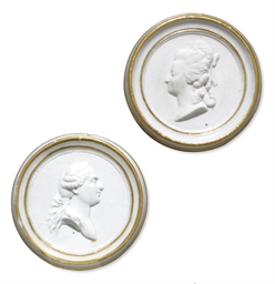 AN ASSEMBLED PAIR OF SEVRES (HARD PASTE) BISCUIT PORTRAIT PL...