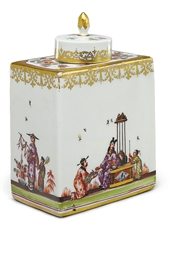A MEISSEN TEA-CADDY AND A COVE