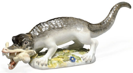 A MEISSEN MODEL OF AN ALLIGATO