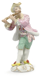 A MEISSEN FIGURE OF A FLAUTIST
