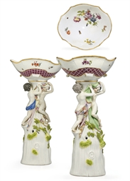 TWO MEISSEN PEDESTAL LEMON BAS