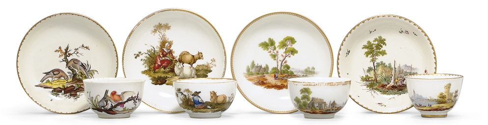 FOUR GERMAN TEACUPS AND SAUCER
