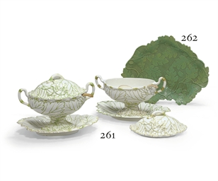 TWO WEDGWOOD PEARLWARE LEAF-MO