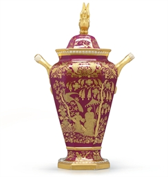 A SPODE MAGENTA-GROUND VASE AN