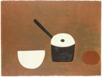 White bowl, black pan on brown