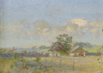 A summer landscape with cows
