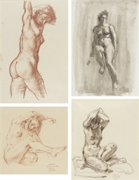 Four studies of female nudes