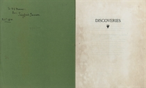 """SASSOON, Siegfried (1886-1967).  Discoveries. [London: Chiswick Press] """"Printed for Siegfried Sassoon,"""" 1915. 4° (225 x 180mm). 8 leaves, printed on Van Gelder Zonen (some light staining and browning, particularly to first and last leaves). Original green printed wrappers, stitched (a few nicks). FIRST EDITION, ONE OF 50 COPIES, PRESENTATION COPY, the inner wrapper inscribed, """"To F. E. [?]Murray from Siegfried Sassoon, Feb. 7, 1916."""" Keynes A11."""