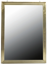 A BRASS FRAMED WALL MIRROR