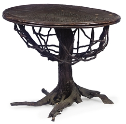 A RUSTIC CIRUCLUAR TABLE AND R