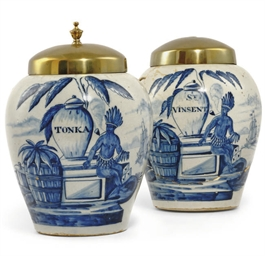 TWO DUTCH DELFT V.O.C TOBACCO