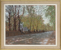 Riders on a tree-lined road