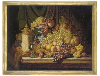 Grapes, melon, peaches and a t