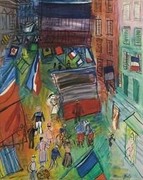 Rue pavoisée au navire