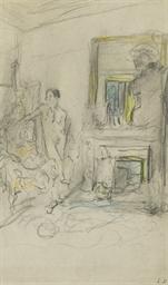 Femme devant une cheminée