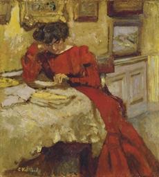 Madame Hessel en robe rouge li