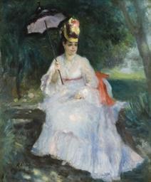 Femme à l'ombrelle assise dans