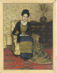 Portrait of a lady, seated ful