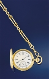 A gold repeating pocket watch