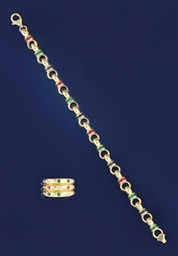 An 18ct. gold and gem bracelet