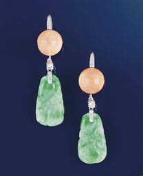 A pair of jadeite, diamond and