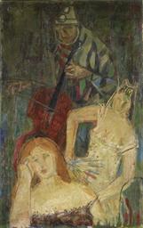 Musizierender Harlekin mit zwe