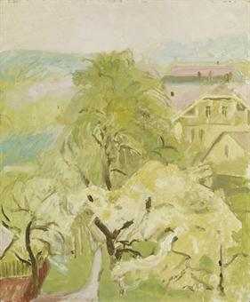 Blick von Amiets Garten auf der Oschwand gegen das Posthaus. Im Frühling, 1948