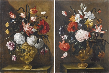 Vaso di fiori con rose, tulipa
