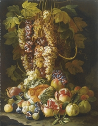 Natura morta di frutta con uva
